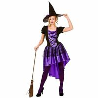 Ladies DELUXE GLAMOROUS PURPLE WITCH Halloween Fancy Dress Costume UK Sizes 6-24