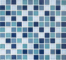 BLUE MIX GLOSSY Mosaic tile Ceramic WALL BATH&KITCHEN Backsplash-18-0408|10sheet