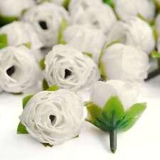 50pcs Artificial Silk Tea Rose Flower Heads Bulk Wedding Decor DIY 30mm Ivory IF