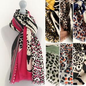 Ladies Large Leopard Print Scarf Animal Shawl Wrap Tiger Zebra Cotton Women Gift