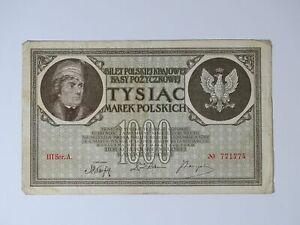 ➤ Banknote 1000 Marek Polskich Mark Tysiac 1919 Poland, III Ser.A. Nr. 771774 ➤