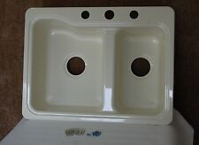"Dehco Parchment RV Kitchen Sink 25"" x 19"" 60/40 Smart Divide Double Basin 3 Hole"