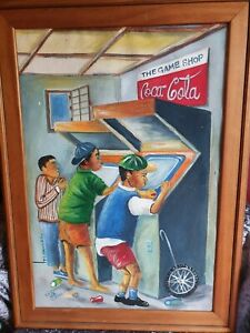 Painting by South African Artist Timothy Pangel 'Game Shop'