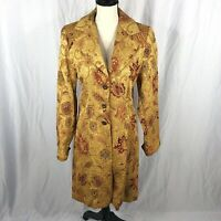CAbi 179 Guinevere Tapestry Trench Coat 8 Gold Brocade Long Embroidered Floral