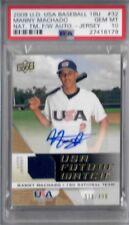 PSA 10 - 2009 UD USA Baseball 18U Jersey Manny Machado Autograph #32