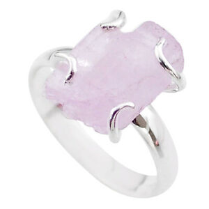 6.56cts Raw Natural Pink Kunzite Rough 925 Sterling Silver Ring Size 8 T48171