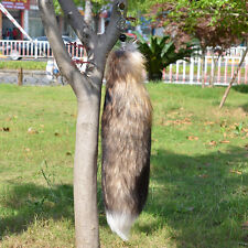 "18"" Large Brown Fox Tail Real Genuine Fox Fur Tail Keychain Fur Tassel Handbag"