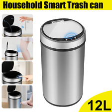 12L Automatic Smart Sensor Trash Can Dustbin Touchless Bedroom Office Kitchen