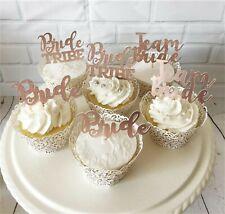 6-Blush Rose Gold Hen Party Cupcake Topper/Pick-Bridal Shower-Team Bride-Wedding