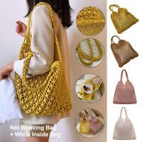 Womens Bohemian Woven Handbag Shoulder Beach Bag Wicker Rattan Casual Tote Straw