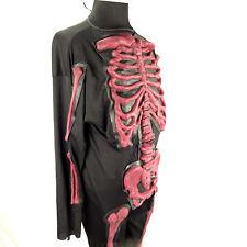 Halloween Black Skeleton Costume Blood Red Bones Hand Gloves Unisex Cosplay