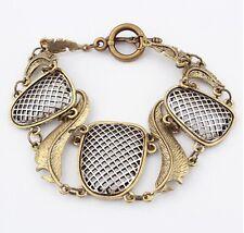 6* Antique bronze Net Cuff Bangle Top Quality Vintage Women's Feather Bracelet