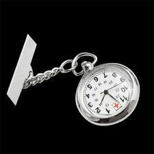 Large Face Nurses Pocket Fob Watch on a Bar with a Brooch Back Silver Color IM