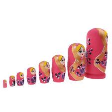 8pcs Pink Female Russian Nesting Doll Matryoshka Wood for Children Kids