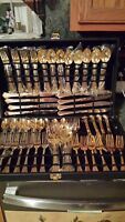 Rogers Flatware GOLDEN ROYAL PLUME International Silver 51 Pcs Gold Electroplate