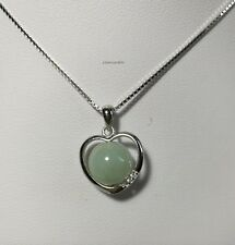Certified green A grade Jadeite in sterling silver Love heart pendant necklace