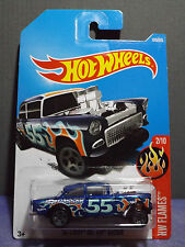 2017 Hot Wheels Flames '55 CHEVY BEL AIR GASSER in BLUE 2/10 Near Mint Long Card