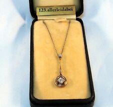 Art Deco Lavaliere 585 Gold & Platin Diamant Kette Collier Anhänger / AV 824