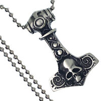 Skull  Gothic Mjolnir Viking Thor's Hammer Amulet Charm Pewter Pendant Necklace