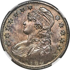 1834 50C Small Date, Small Letters, MS64+ NGC. CAC