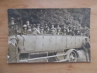 VINTAGE 1909 POSTCARD - CLUB OUTING ON CHARABANC  - CHARD - SOMERSET  RP