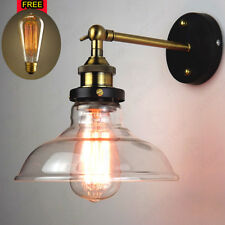 Industrial Vintage Clear Glass Cover Retro Sconce Antique Brass Wall Light Lamp