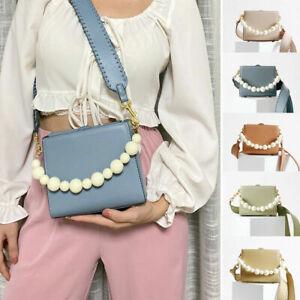 Small White Pearl Chain Leather Box Bag Tote Wide Strap Clutch Shoulder Purse