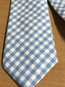 "Vineyard Vines men neck tie blue white gingham 50"" x 3.25"""