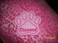 Dog, Cat Fleece Blanket Handcrafted Personalized 36x30 in, med New, pink leopard