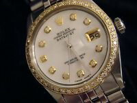 Rolex Datejust Mens Stainless Steel w/ White Mother Pearl Diamond Dial 1ct Bezel