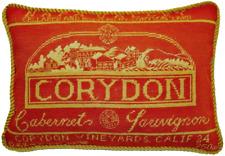 "13""x19"" Handmade Wool Needlepoint Napa Valley Corydon Cabernet Sauvignon Pillow"
