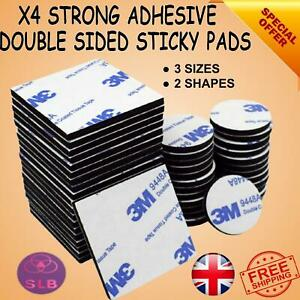 3MM DOUBLE SIDED STICKY PADS Strong Black Adhesive Mounting Tape Square Round UK