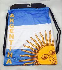 Argentina Flag Polyester Drawstring Backpack/Sack