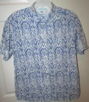Tommy Bahama Relax 100% Cotton Hawaiian Camp Shirt Blue Large