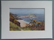 """ST.IVES CORNWALL ORIGINAL OLD 1920's PRINT IN NEW 6""""x8"""" MOUNT READY TO FRAME"""