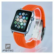 #13 Silikon Armband für Apple Watch ( 38mm ) Serie 1 / 2 / 3 in Neon Orange