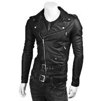 ★PELLE 100%★ Chiodo Giacca Giubbotto in di Pelle Uomo Men Leather Jacket M17pm1