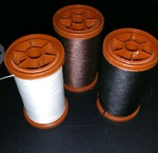 Lot of 3 Coats Clark Extra Strong Heavy Duty Upholstery Thread Black Brown Cream
