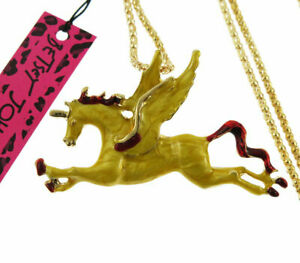 New Betsey Johnson Yellow Enamel Pegasus Horse Pendant Sweater Necklace Chain