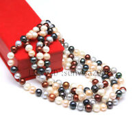 """LONG 8-9mm multicolor Freshwater natural genuine cultured Pearl necklace 35"""""""