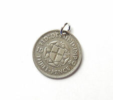 Antique George V Silver 1940 THREE PENCE 3p COIN Charm 1.5g