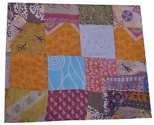 Queen Kantha Vintage Patch Work Quilt Reversible Bedspread Blanket Bedding Throw