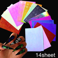 14 Sheets Letter 3D Nail Stickers Transfer Decals Mixed Nail Art Decoration Tips