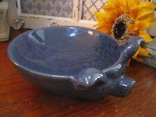 New Large Rustic Farmhouse Deep Blue Pig Shaped Distressed Ceramic Bowl Dish