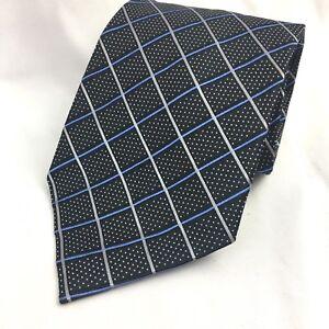 JS Blank Tie 100% Silk Black Blue Gray Plaid Check Dot Pattern Mens Necktie