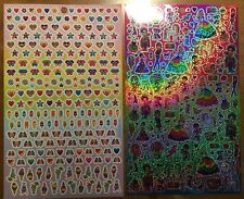 LISA FRANK Stickers! 2 Large Sheets Sparkly Rainbow Hearts Stars Ice Cream