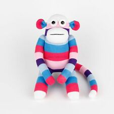 Handmade White Face Purple Striped Sock Monkey Stuffed Animals Doll Baby Toys