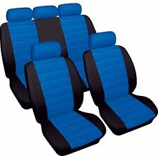 BLUE/BLACK CAR SEAT LEATHER LOOK FRONT & REAR COVERS for PEUGEOT 308 2007>
