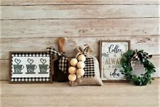 5 Piece Mini Coffee Sign Set / Tiered Tray Bowl Filler / Farmhouse Rustic Coffee
