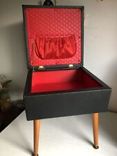 Vintage Sherborne MCM 60s Black Vinyl Sewing Work Box Stool Retro Dansette Legs